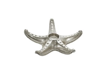 9 Inch Silver Metal Starfish Tealight Holder
