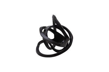 10 Inch Black Metal Knotted Orb - Main