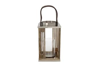 12 Inch Wooden Hurricane Lantern