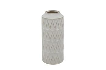 16 Inch White Textured Zig Zag Teardrop Vase