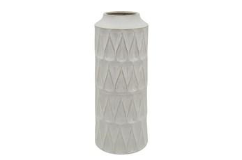 22 Inch White Textured Zig Zag Teardrop Vase