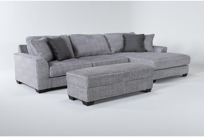 Elias 2 Piece Sectional With Right Arm Facing Chaise & Storage Ottoman - 360