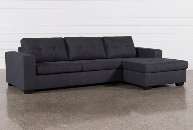 Remington Charcoal 2 Piece Sleeper Sectional With Right Arm Facing Storage Chaise - 360
