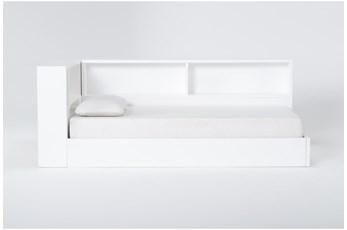 Mateo White Twin Corner Bookcase Bed