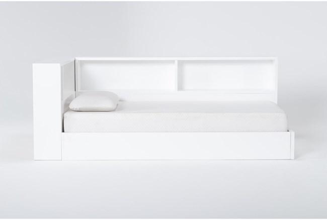 Mateo White Twin Corner Bookcase Bed - 360