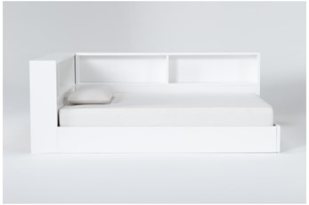 Mateo White  Full Corner Bookcase Bed
