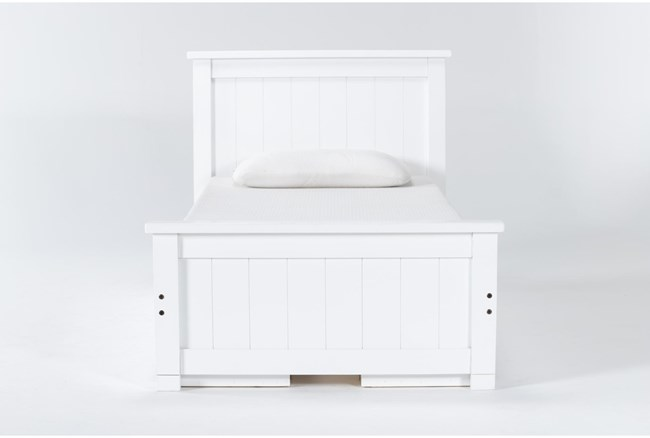 Mateo White  Twin Panel Bed With Double 3 Drawer Storage Unit - 360