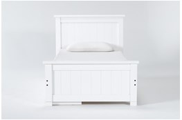 Mateo White  Twin Panel Bed With Single 3 Drawer Storage Unit