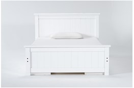 Mateo White  Full Panel Bed With Double 3 Drawer Storage Unit
