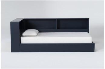 Mateo Blue Twin Corner Bookcase Bed