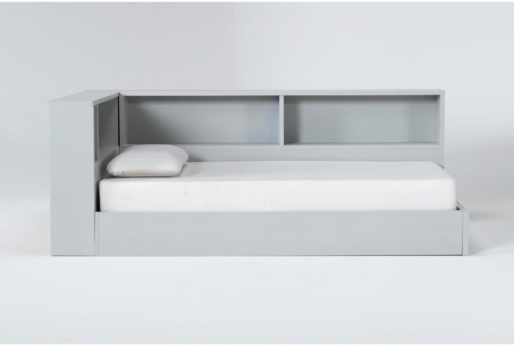 Mateo Grey Twin Corner Bookcase Bed