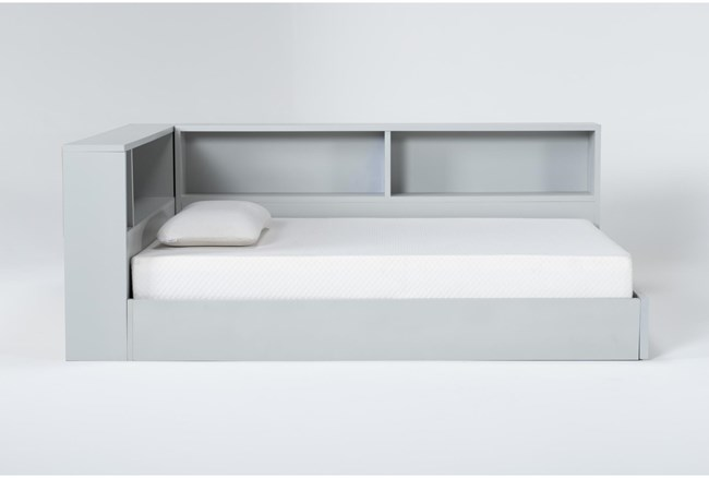 Mateo Grey Full Corner Bookcase Bed - 360