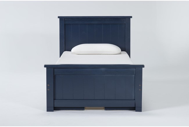 Mateo Blue Twin Panel Bed With Double 3 Drawer Storage Unit - 360