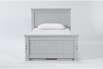 Mateo Grey Twin Panel Bed With Double 3 Drawer Storage Unit