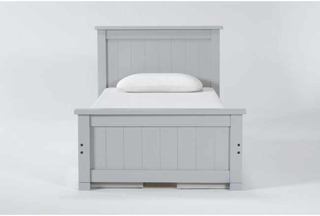 Mateo Grey Twin Panel Bed With Double 3 Drawer Storage Unit - 360