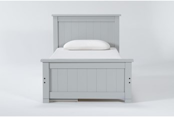 Mateo Grey Twin Panel Bed With Single 3 Drawer Storage Unit