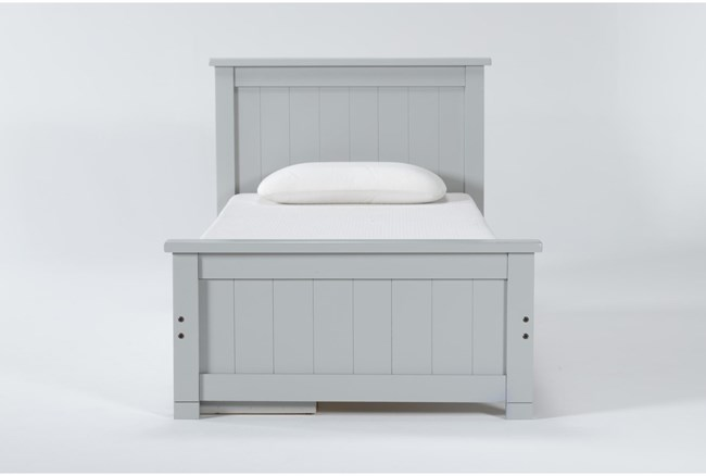 Mateo Grey Twin Panel Bed With Single 3 Drawer Storage Unit - 360