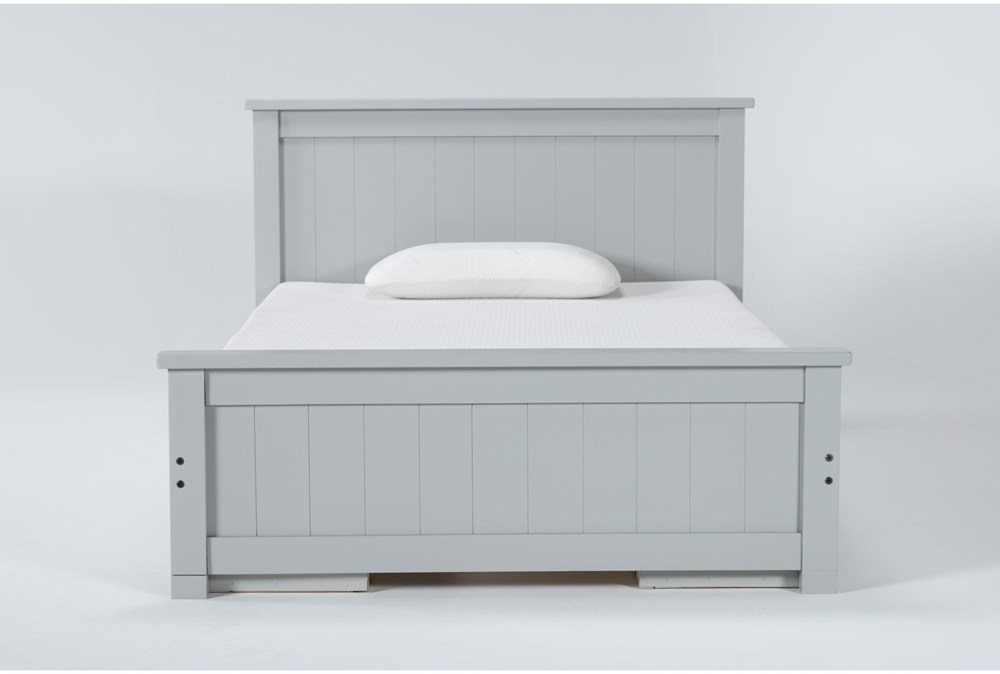 Mateo Grey Full Panel Bed With Double 3 Drawer Storage Unit