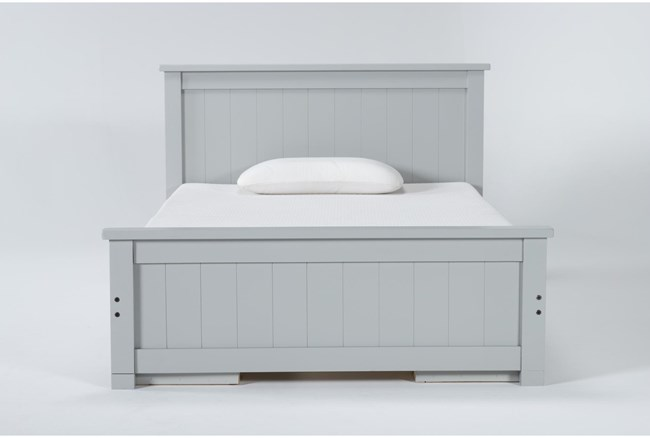 Mateo Grey Full Panel Bed With Double 3 Drawer Storage Unit - 360