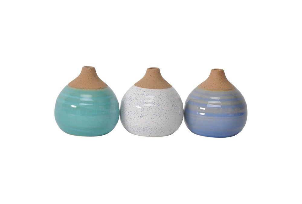 4 Inch Ocean Tones Glazed Bud Vases- Set Of 3