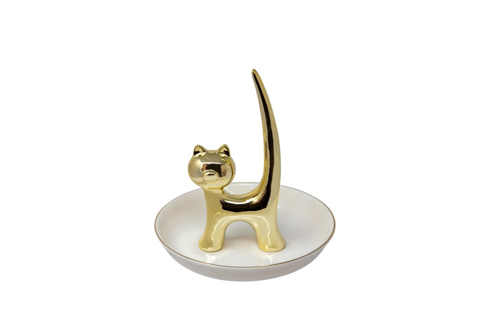 6 Inch White + Gold Kitty Trinket Dish And Ringholder