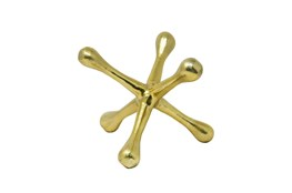 8 Inch Gold Metal Jacks Sculpture