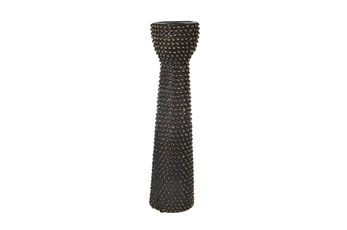 16 Inch Black + Gold Beaded Ceramic Pillar Candle Holder