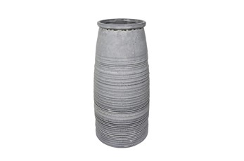 14 Inch Rustic Gray Ceramic Vase