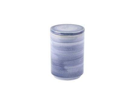 8 Inch Blue Brush Strock Ceramic Jar With Lid - Main