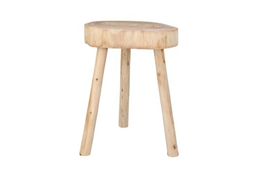 24 Inch Natural Wood Round Accent Table Plant Stand Stool