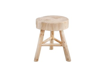 16 Inch Natural Wood Round Stool