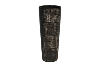 19 Inch Antique Black Textured Vase