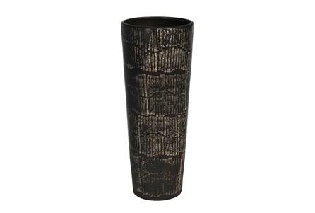 19 Inch Antique Black Textured Vase - Main