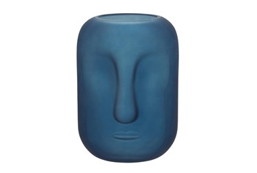 10 Inch Blue Frosted Glass Face Vase