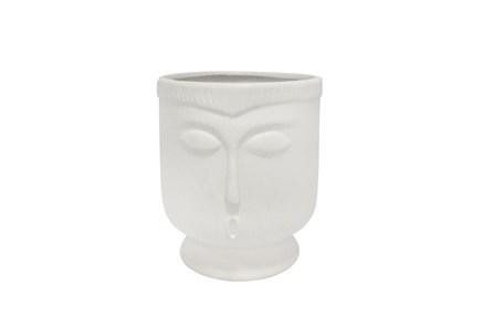 6 Inch Cream Ceramic Footed Face Vase - Main