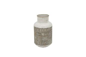 10 Inch Beige Rustic Geometric Metal Vase