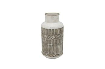 12 Inch Beige Rustic Geometric Metal Vase