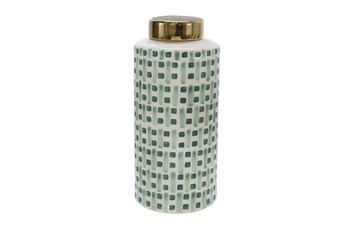 13 Inch Green Weave Ceramic Jar With Gold Lid