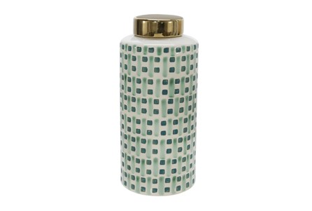 13 Inch Green Weave Ceramic Jar With Gold Lid - Main