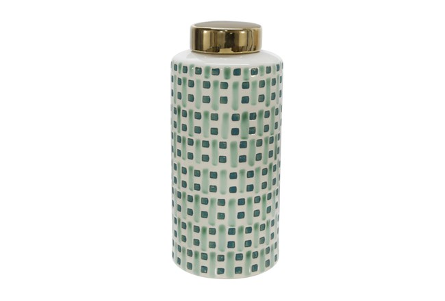 13 Inch Green Weave Ceramic Jar With Gold Lid - 360