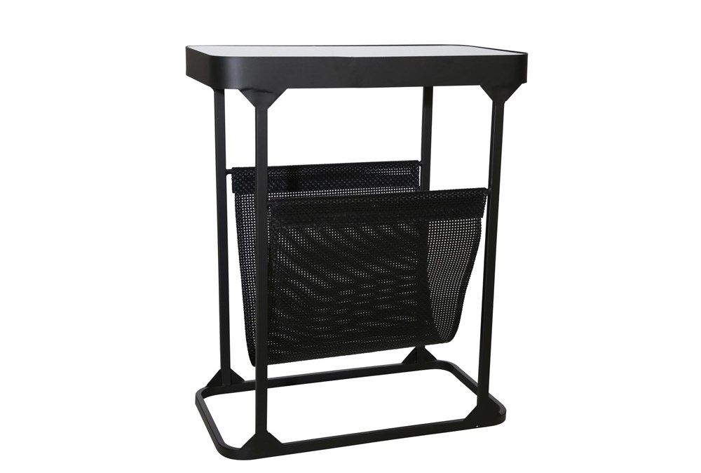 "22"" Black Metal + Glass Rectangle Table With Magazine Rack"