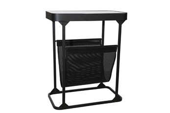 "22"" Black Metal + Glass Rectangle Table With Magazine Rack"