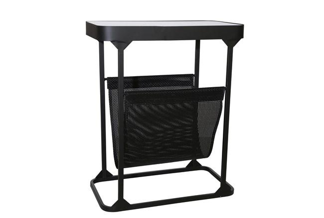 "22"" Black Metal + Glass Rectangle Table With Magazine Rack - 360"