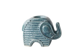 6 Inch Blue Ceramic Elephant Tea Light Candle Holder