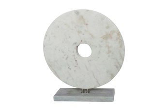 18 Inch White Marble Disk On Stand