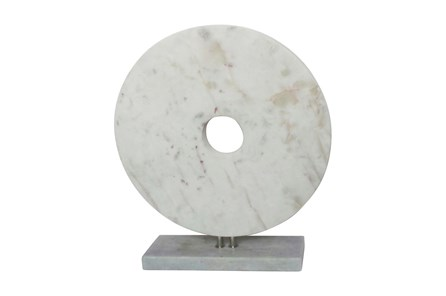 18 Inch White Marble Disk On Stand - Main