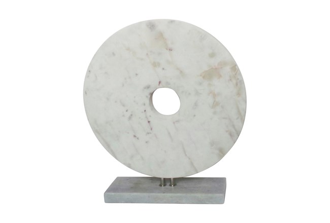 18 Inch White Marble Disk On Stand - 360
