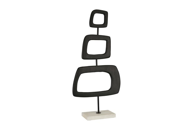 22 Inch Black Metal Square Rings On Stand - 360