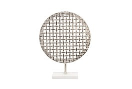 21 Inch Silver Metal Mesh Round Plate On Marble Stand