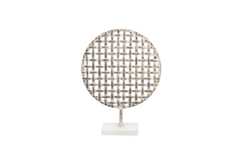 18 Inch Silver Metal Mesh Round Plate On Marble Stand